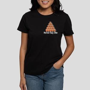 Never Say Die Logo 7 Women's Dark T-Shirt Design F