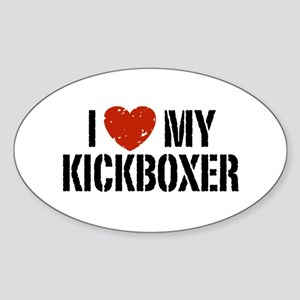 I Love My Kickboxer Sticker (Oval)