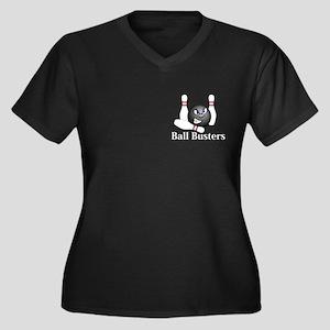Ball Busters Logo 5 Women's Plus Size V-Neck Dark