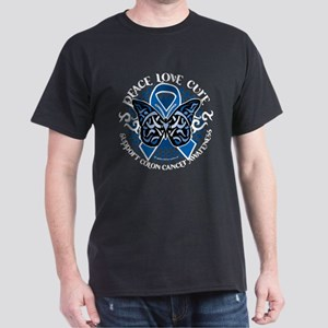 Colon Cancer Tribal Butterfly Dark T-Shirt