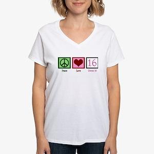 Peace Love Sweet 16 Women's V-Neck T-Shirt