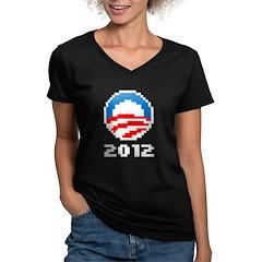 Obama 2012 Pixel Logo Women's V-Neck Dark T-Shirt