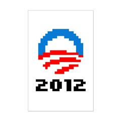 Obama 2012 Pixel Logo Mini Poster Print