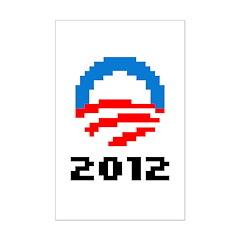 Obama 2012 Pixel Logo Mini Poster Print