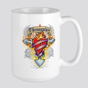 Fibromyalgia Cross & Heart Large Mug