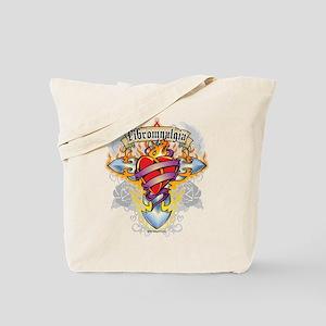 Fibromyalgia Cross & Heart Tote Bag