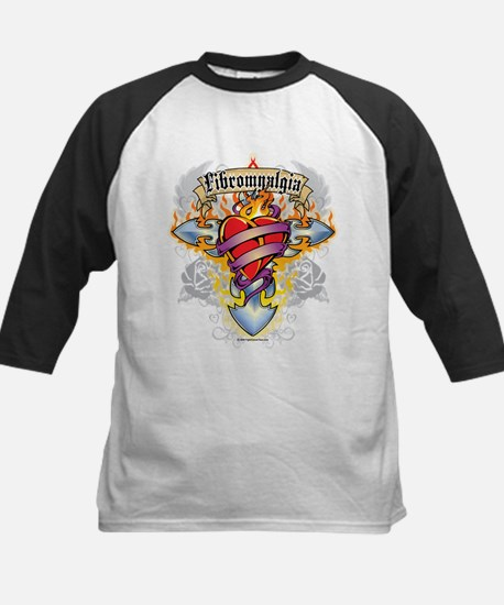 Fibromyalgia Cross & Heart Kids Baseball Jersey