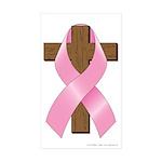 Pink Ribbon and Cross Sticker (Rectangle 50 pk)