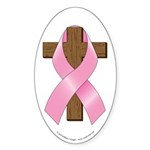 Pink Ribbon and Cross Sticker (Oval 50 pk)