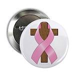 Pink Ribbon and Cross 2.25