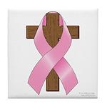 Pink Ribbon and Cross Tile Coaster