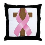 Pink Ribbon and Cross Throw Pillow