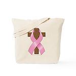 Pink Ribbon and Cross Tote Bag