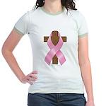 Pink Ribbon and Cross Jr. Ringer T-Shirt