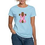 Pink Ribbon and Cross Women's Light T-Shirt