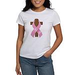 Pink Ribbon and Cross Women's T-Shirt