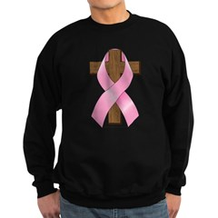 Pink Ribbon and Cross Sweatshirt (dark)