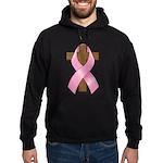 Pink Ribbon and Cross Hoodie (dark)