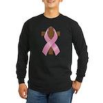 Pink Ribbon and Cross Long Sleeve Dark T-Shirt