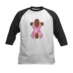Pink Ribbon and Cross Kids Baseball Jersey