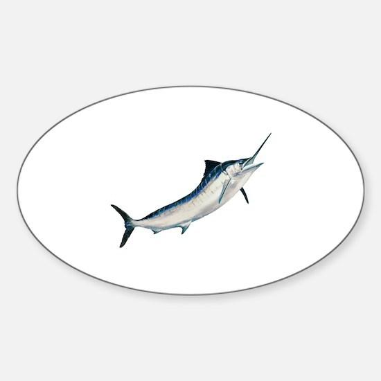 Striped Marlin (untitled) Sticker (Oval)