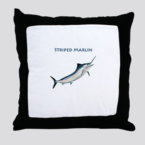 Leaping Striped Marlin Logo Throw Pillow
