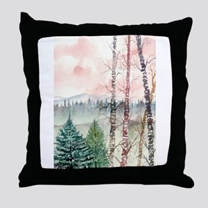 birch trees landscape art pri Throw Pillow