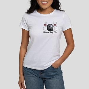 Never Say Die Logo 3 Women's T-Shirt Design Front