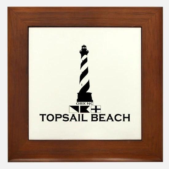 Topsail Beach NC - Lighthouse Design Framed Tile