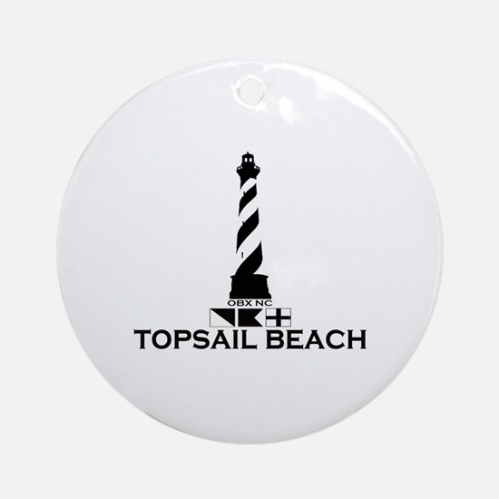 Topsail Beach NC - Lighthouse Design Ornament (Rou