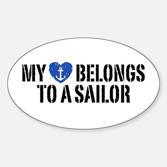 My Heart Belongs To A Sailor Sticker (Oval)