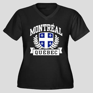 Montreal Quebec Women's Plus Size V-Neck Dark T-Sh