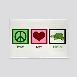 Peace Love Turtles Rectangle Magnet