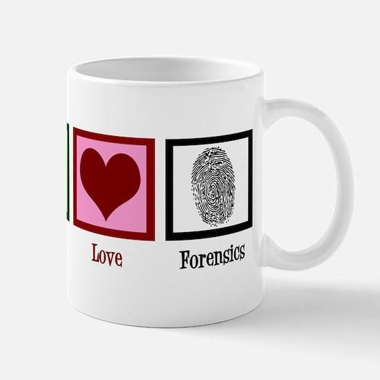Peace Love Forensics Mug