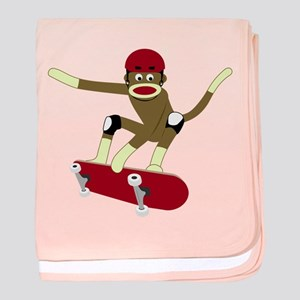 Sock Monkey Skateboarder Infant Blanket