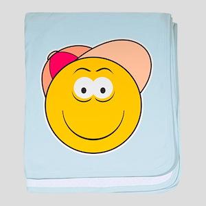 Baseball Hat Smiley Face Infant Blanket