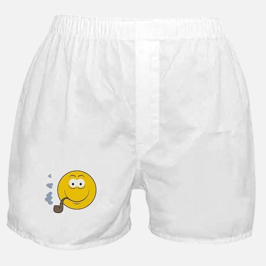 Pipe Smoking Smiley Face Boxer Shorts