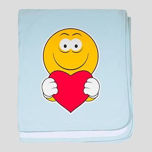 Smiley Face Holding Heart Infant Blanket
