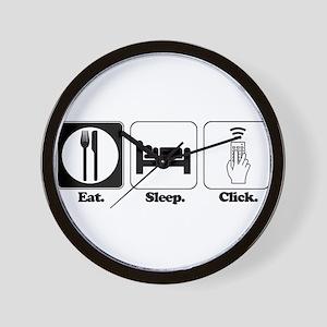 Eat. SLeep. CLick. (Remote Co Wall Clock