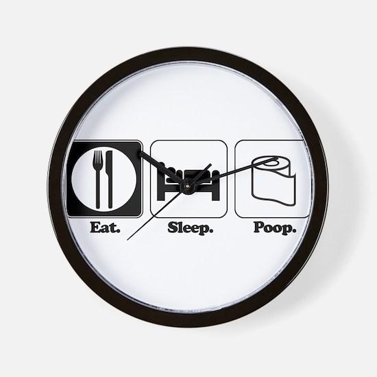 Eat. Sleep. Poop. Wall Clock
