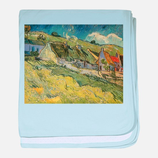 Van Gogh Thatched Cottages baby blanket