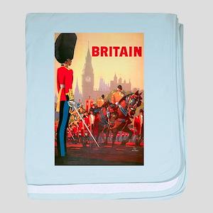 Vintage Travel Poster, Britain baby blanket