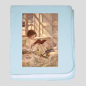 Vintage Books in Winter, Child Reading baby blanke
