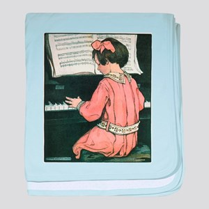 Vintage Child Playing the Piano baby blanket