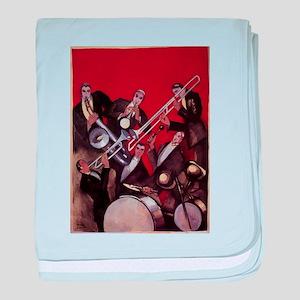 Vintage Music, Art Deco Jazz baby blanket