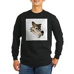 Funny Wolf Face Long Sleeve Dark T-Shirt