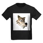 Funny Wolf Face Kids Dark T-Shirt