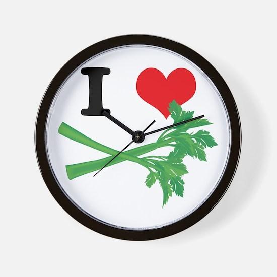 I Heart (Love) Celery Wall Clock