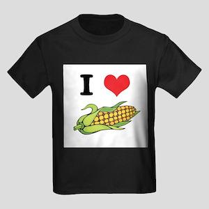 I Heart (Love) Corn (On the C Kids Dark T-Shirt