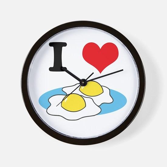 I Heart (Love) Fried Eggs Wall Clock